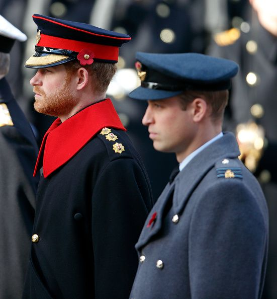 Sunday, Nov.13, 2016 - Britain's Prince William (R) & his brother Prince Harry, carry their wreaths prior to laying them at the Cenotaph during the Remembrance Sunday service in London.
