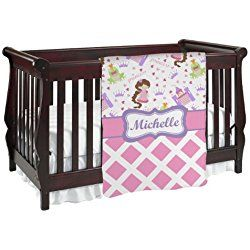 Princess & Diamond Purple Print Baby Blanket (Double Sided) (Personalized)