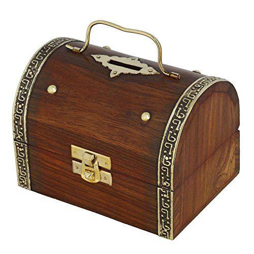 Antique Design Handcrafted Box In Wood Money Bank ShalinIndia http://www.amazon.in/dp/B00QK5UZH2/ref=cm_sw_r_pi_dp_X1.Avb1SCKQZS