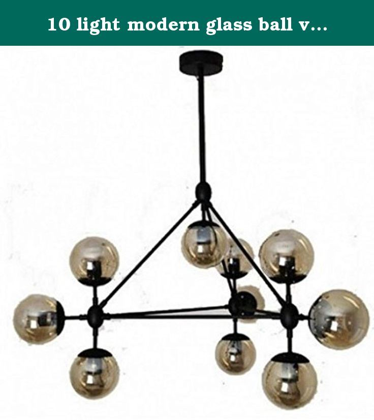 10 light modern glass ball vintage black chandeliers. Material: Iron + Glass Size:L1040mm, W910mm,H510mm Bulb Q'TY: 10 Pcs Wattage:10 * 40-60W Voltage: 90V-260V Light: Incandescent bulb Base: E26 / E27 Color :Black + Clear glass shade.