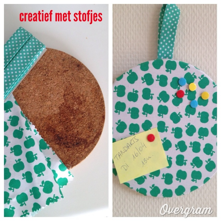 ~Makkelijk memobord-idee~ ook leuk voor moederdag! Onze stof vind je op www.kwantum.nl