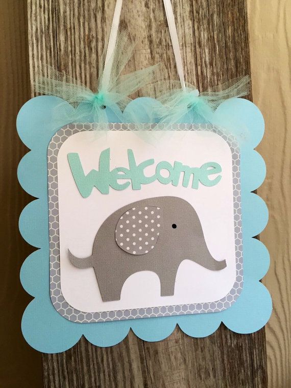 Elephant Baby Shower Sign Welcome Sign Blue By
