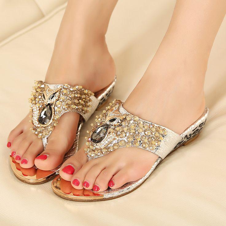 Nuevos zapatos de la boda de la cabeza del zorro Flip Flops lujo de la princesa rhinestone chispeante elegante cuñas Flip flop de los deslizadores de zorro sandalias en Sandalias de Calzado en AliExpress.com   Alibaba Group