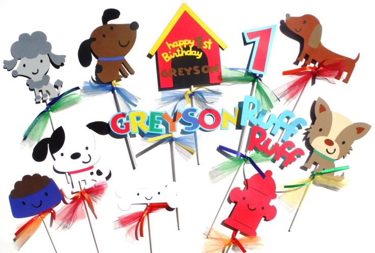 Puppy Dog Party Primary Color Themed Centerpiece Sticks Set of 12 for a Birthday Party with Red Age Number by ScrapsToRemember on Etsy https://www.etsy.com/listing/190785902/puppy-dog-party-primary-color-themed