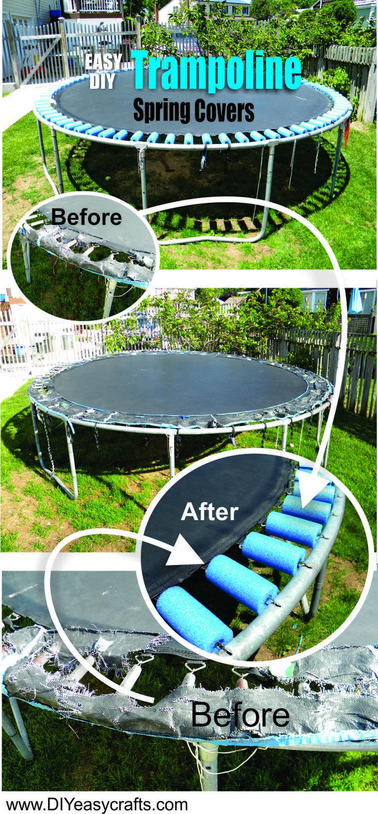 DIY Trampoline Spring cover pool noodle repair. www.DIYeasycrafts.com