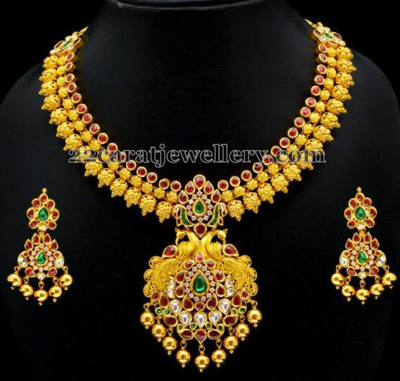 Gold Necklace with Colorful Kundans | Jewellery Designs