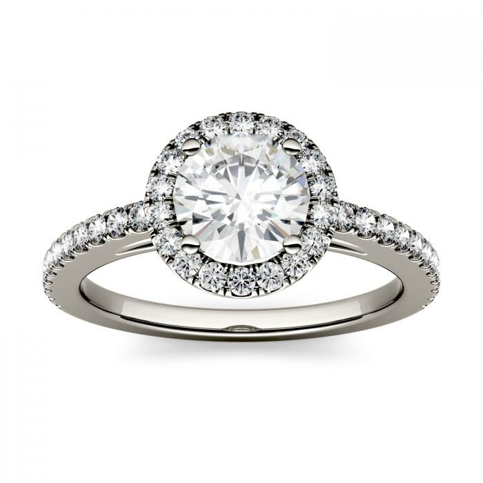 Forever One Round Moissanite Halo with Side Accents Engagement Ring