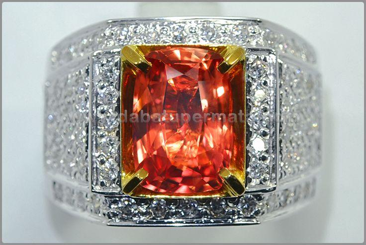 Cincin Batu Pemata PADPHARASCHA SAFIR. Kristal Mulus - PP 102