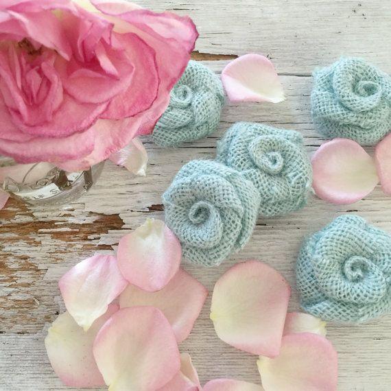 Toile de jute bleu sarcelle doux fleurs, pays mariage décoration, bricolage, Shabby Chic mariage idées de décorations de mariage, décorations de mariage rustique