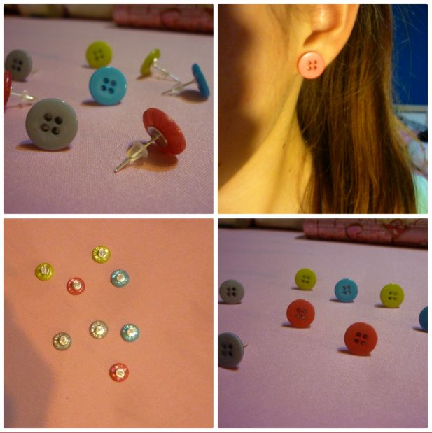 #cute #colorful #tiny #buttons #earrings #christmasgift for Klárka:-) #DIY / #male #roztomile #barevne #knofliky jako #vanocnidarek pro Klárku:-) #udelejsisam