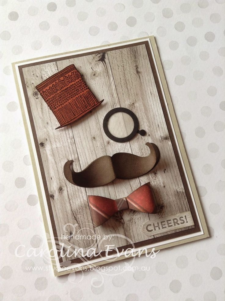 Time to Celebrate Stamp set, Punch Art Debonair Top Hat & Monocle card, using Stampin' Up! products created by Carolina Evans