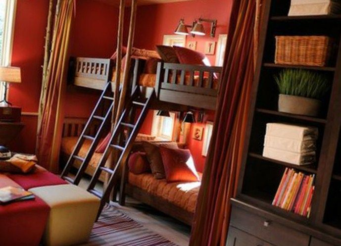 Bedroom Designs, The Modern Design Of Kids Room Decor Ideas For Boys With Wooden Bed With Wooden Ladder Also The Brown Curtain Bed With Wooden Shelving And Orange Wall With Grey Floor: The Exciting Decoration Of Kids Room Decor Ideas For Boys With The Interesting Painting Color Of Bedroom