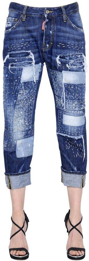 Workwear Stitched Patchwork Denim Jeans