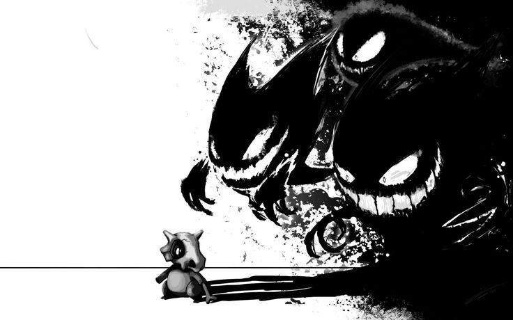 pokemon black gengar haunter ghastly artwork cubone 1920x1200 wallpaper