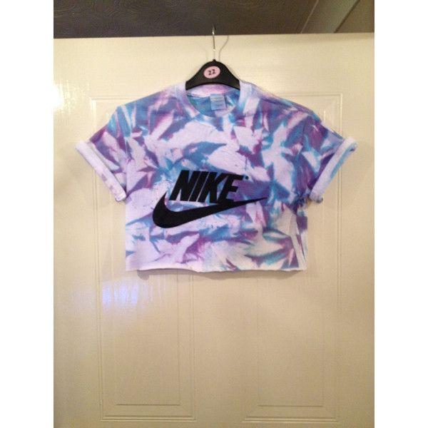 Unisex Customised Nike Acid Wash Tie Dye Cropped T Shirt Festival Swag ($23) ❤ liked on Polyvore