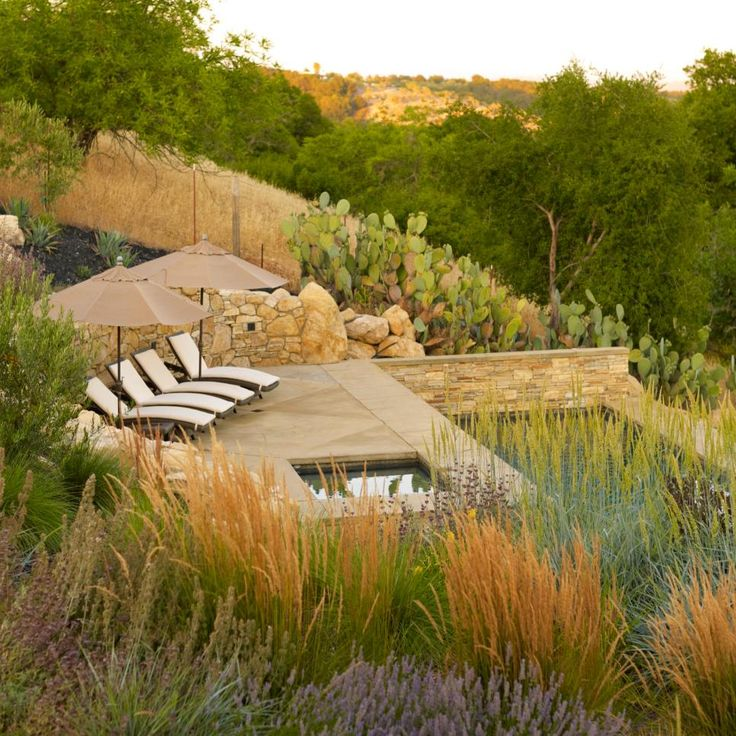Lovely, tall grass, cacti, and stone retaining walls create a private deck with a peaceful swimming pool. A row of outdoor chaise lounges and umbrellas sit next to a hot tub and overlook stunning desert views.