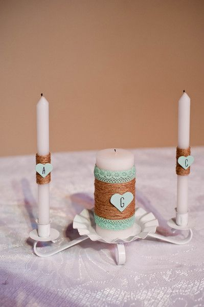 Wedding ceremony candle lighting set - raffia and mint-hued lace to match the wedding color palette {Swanky Fine Art Weddings}