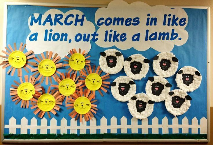 """""""March comes in like a lion, out like a lamb."""" Lions and lambs were made of paper plates, construction paper, cotton balls, and googly eyes."""