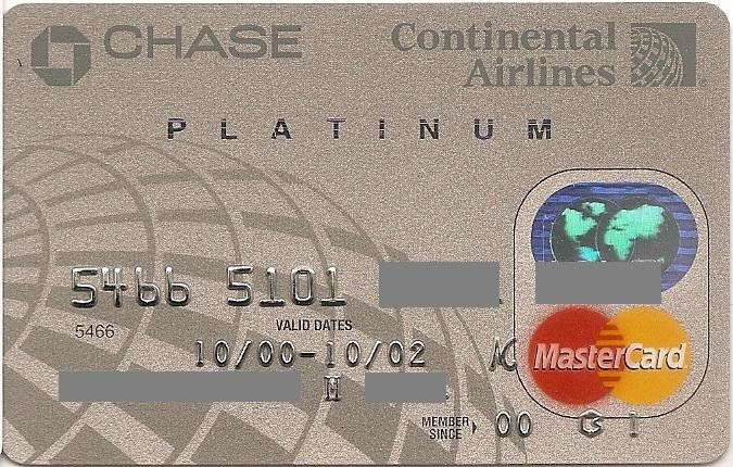 Chase Continental Airlines Platinum (Chase Manhattan Bank USA, N.A., United States of America) Col:US-MC-0180