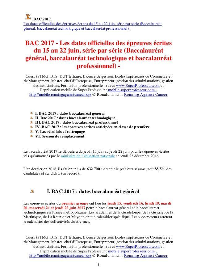 BAC 2017  (Jour J- 7) - Les dates officielles épreuves écrites du 15 au 22 juin, série par série  http://www.superprofesseur.com/332.html  On lâche rien pour la fin des révisions! Team Super Professeur,mobile.superprofesseur.com , mobile.ronningagainstcancer.xyz Ronald Tintin,Ronning Against Cancer #bac2017 #management #coaching #reussirtonbac #bacSTMG #marketing #bacST2S #examen #education #etude #orientation #bacPRO #bacS #bacES #bacL #SuperProfesseur #RonaldTintin #RonningAgainstCancer…