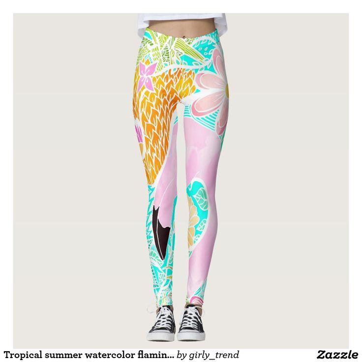 Tropical summer watercolor flamingo pineapple leggings