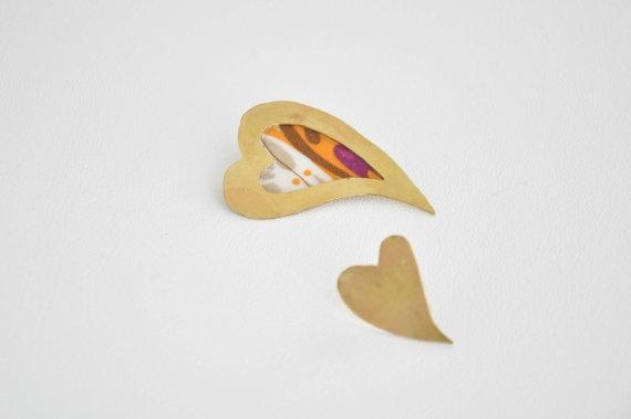 Heart metal earrings Gold brass earrings Ready to ship by zOOzART, $22.00