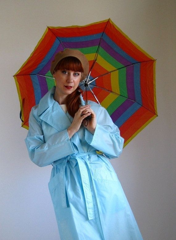 New! Spring Forward In Pale Blue  Sale 1970s Pale Blue Raincoat Office Fashion Spring by gogovintage, $55.00