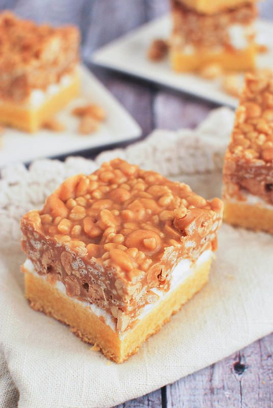Salted Nut Roll Bars - marshmallows, peanut butter, peanuts, and Rice Krispies! And it starts with a box of cake mix!