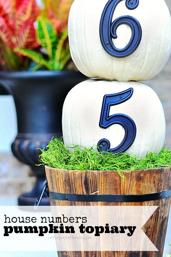 house numbers pumpkin topiary from At The Picket Fence -Skye