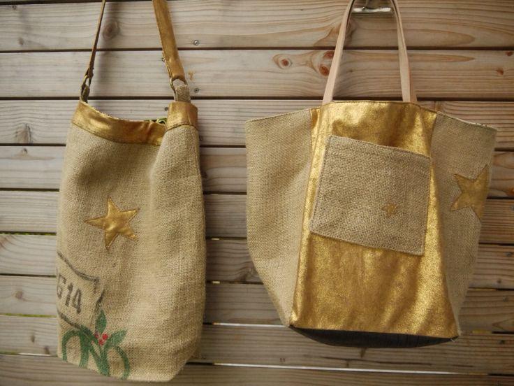 Toile de sac à café et simili cuir bronze