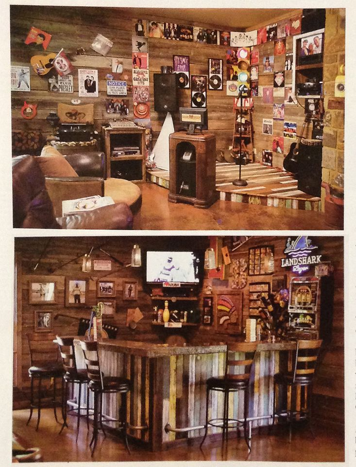 Salvaged wood from Southern Accents Architectural Antiques was used in the entertainment room of Larry and Mary Sue Boggs.