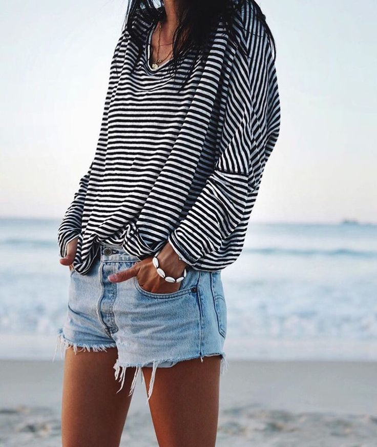 Navy beach look with denim shorts and a stripped shirt