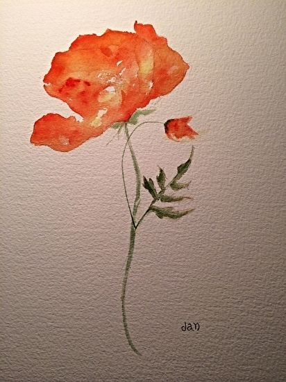 California Poppy  Watercolor by artist extrordinaire Jan Cregan Steiner. This poppy is one of my favorites. :)