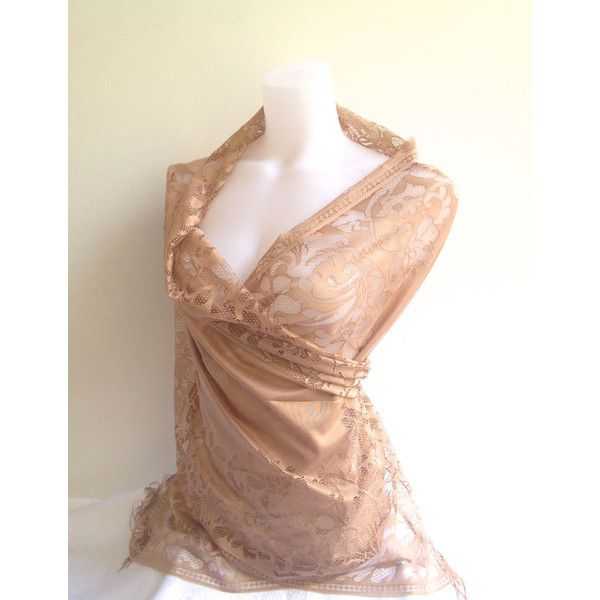 Tan Beige Wedding Shawl, Beige Lace Scarf, Gold Beige Bridal Shawl,... (€13) ❤ liked on Polyvore featuring accessories and scarves