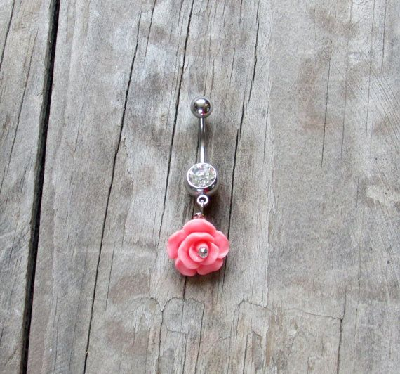 Pink Flower Dangle Clear Crystal Belly Button by JewelrybyTheresa, $15.50