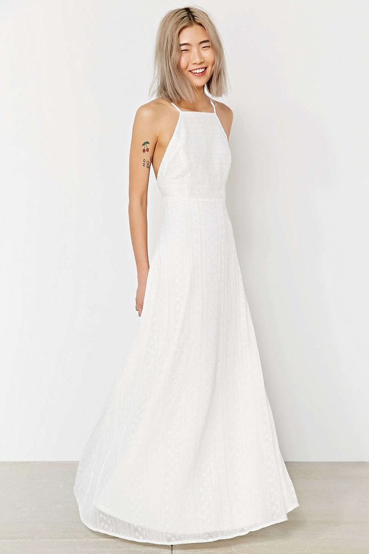 White lace apron wedding - Kimchi Blue Apron Neck Embroidered Maxi Dress