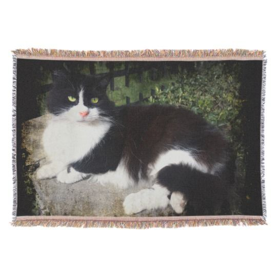 Queen of the Garden Cat Throw Blanket by www.zazzle.com/htgraphicdesigner* #zazzle #gift #giftidea #cat #throw #blanket #tuxedo #happy #mothersday
