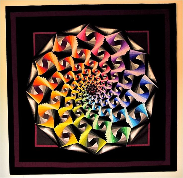 "(George Siciliano)  I call this one ""Ribbons and Hues""  While this quilt is not a miniature it is 42"" square, it has the smallest square I ever made. The square is 3/4 inch and has 39 pieces."