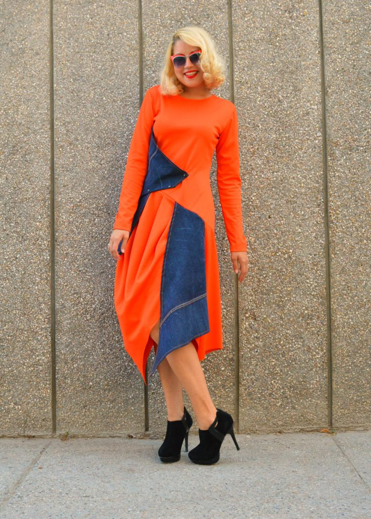 Now selling: Orange Jersey Dress with Denim Insets / Denim Dress / Orange Asymmetrical Dress / Denim Maxi Dress TDK145 https://www.etsy.com/listing/246139719/orange-jersey-dress-with-denim-insets?utm_campaign=crowdfire&utm_content=crowdfire&utm_medium=social&utm_source=pinterest