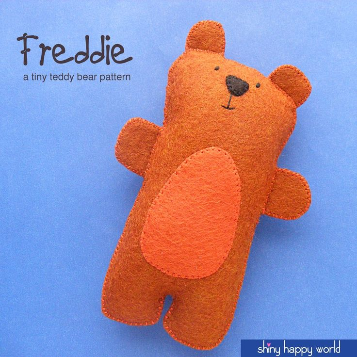 Freddie - a doll-sized teddy bear pattern from Shiny Happy World