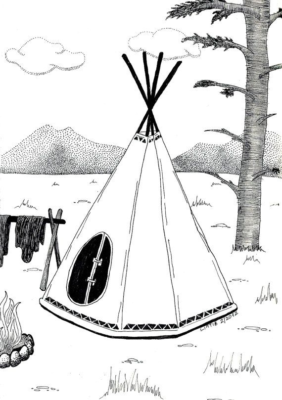 Indian tipi illustration black and white ink by liatib on Etsy