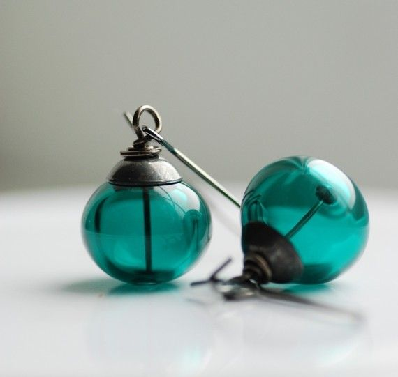 Dark Teal Artisan Glass and Oxidized Sterling Silver