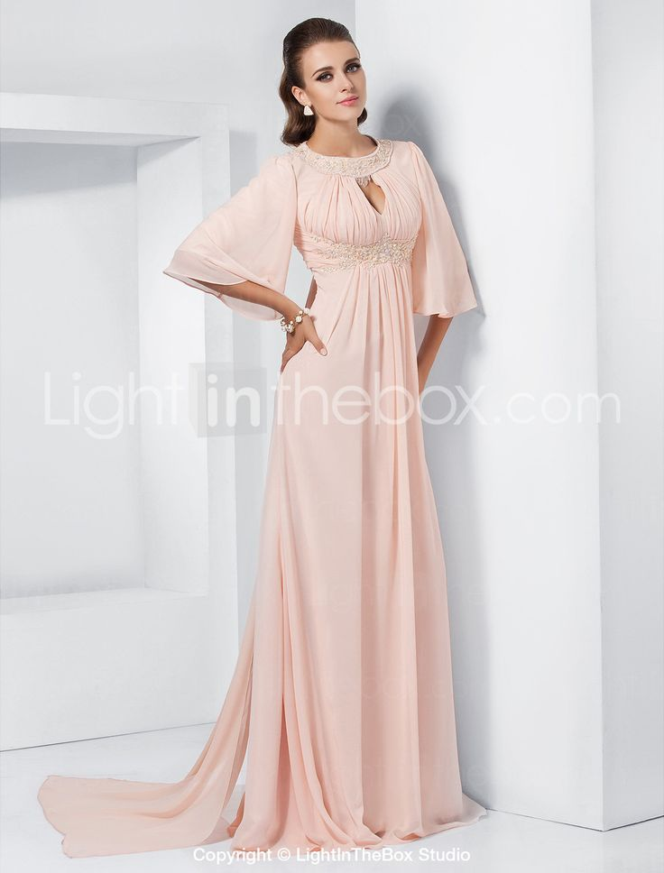 A-line Jewel Sweep/Brush Train Chiffon Evening Dress inspired by Melissa McCarthy at the 84th Oscar - US$ 199.99 Gorgeous in orange
