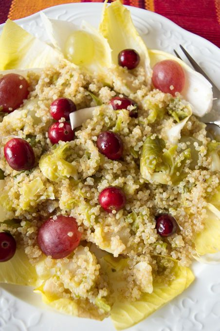 Pleasantly bitter and slightly sweet warm winter salad recipe with belgian endives, quinoa, brussel sprout and berries, dressed with a walnut vinaigrette. #vegan #vegetarian #lowFODMAP