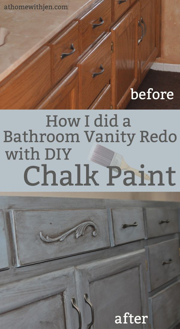 Bathroom Vanity that uses DIY Chalk Paint. #DIY