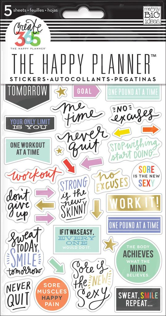 Fitness Planner Stickers for The Happy Planner™ | me & my BIG ideas