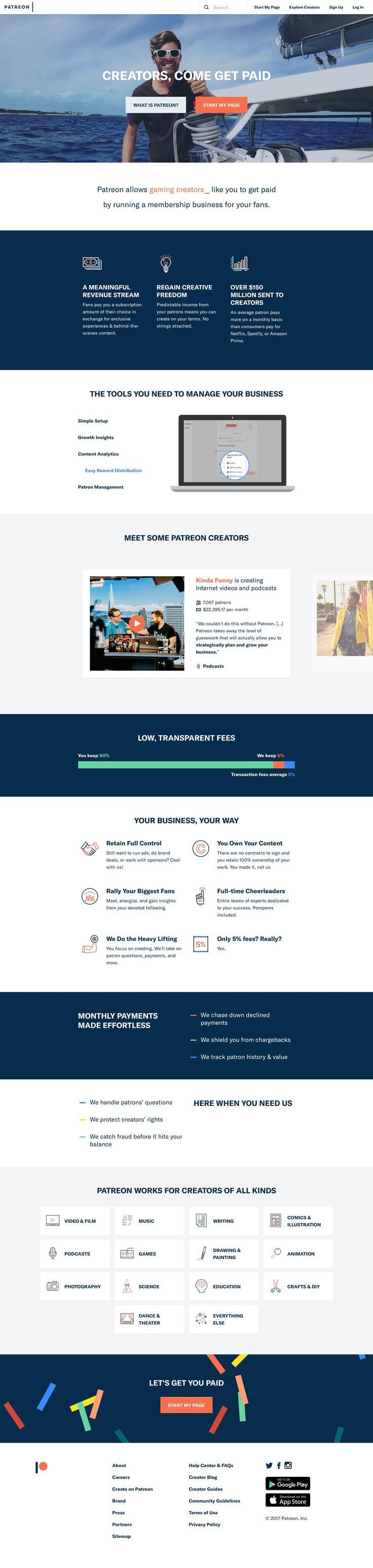 Patreon landing page design inspiration Best landing