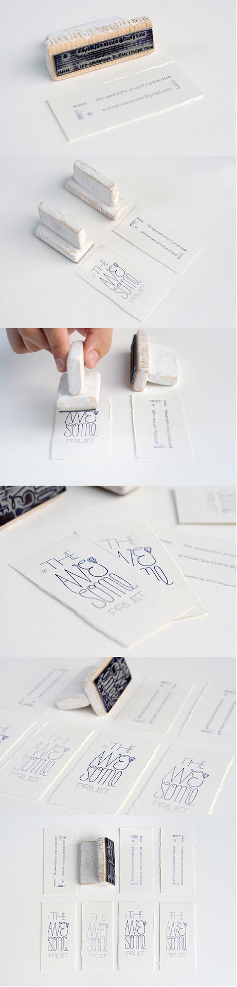 Handmade cards using a stamp. Nice if your business/ profession involves handmade items.
