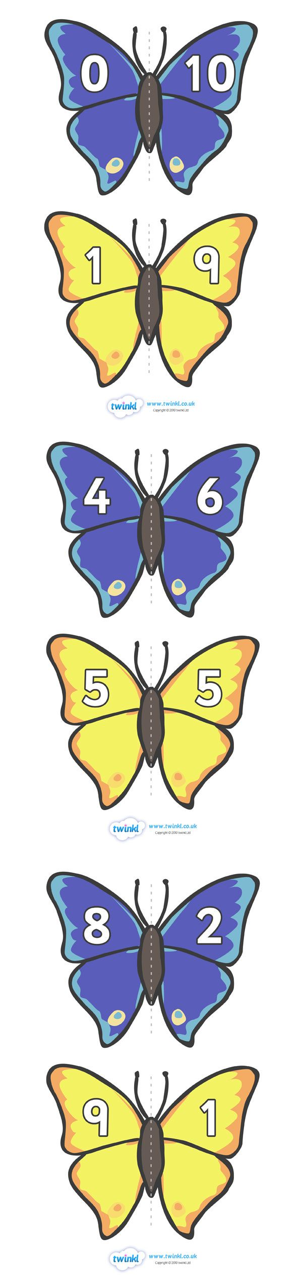 7.4.6 Combining and Partitioning Involving Five and Ten:  Number Bonds to 10 Matching Cards (Butterflies).