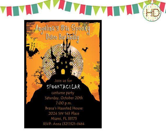 Orange Halloween Invitation Disco Ball Halloween by HDInvitations